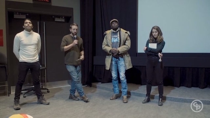 Still from Q&A with Héctor Marino, and Daniel Bustos, Emily Wright, and Tom Laffay